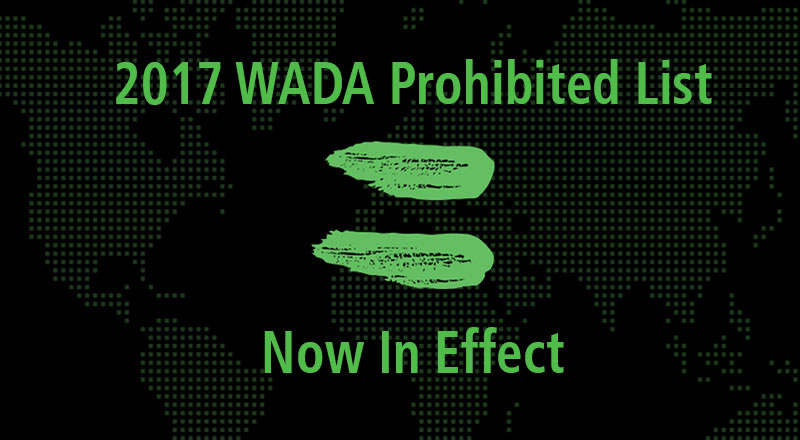 2017 WADA Prohibited List Now in Effect