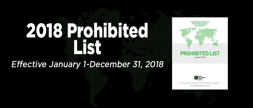 black background with green world 2018 Prohibited List