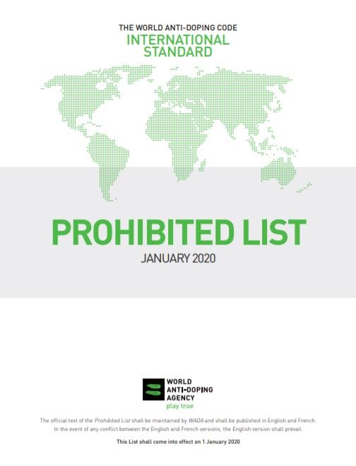 2020 WADA Prohibited List cover
