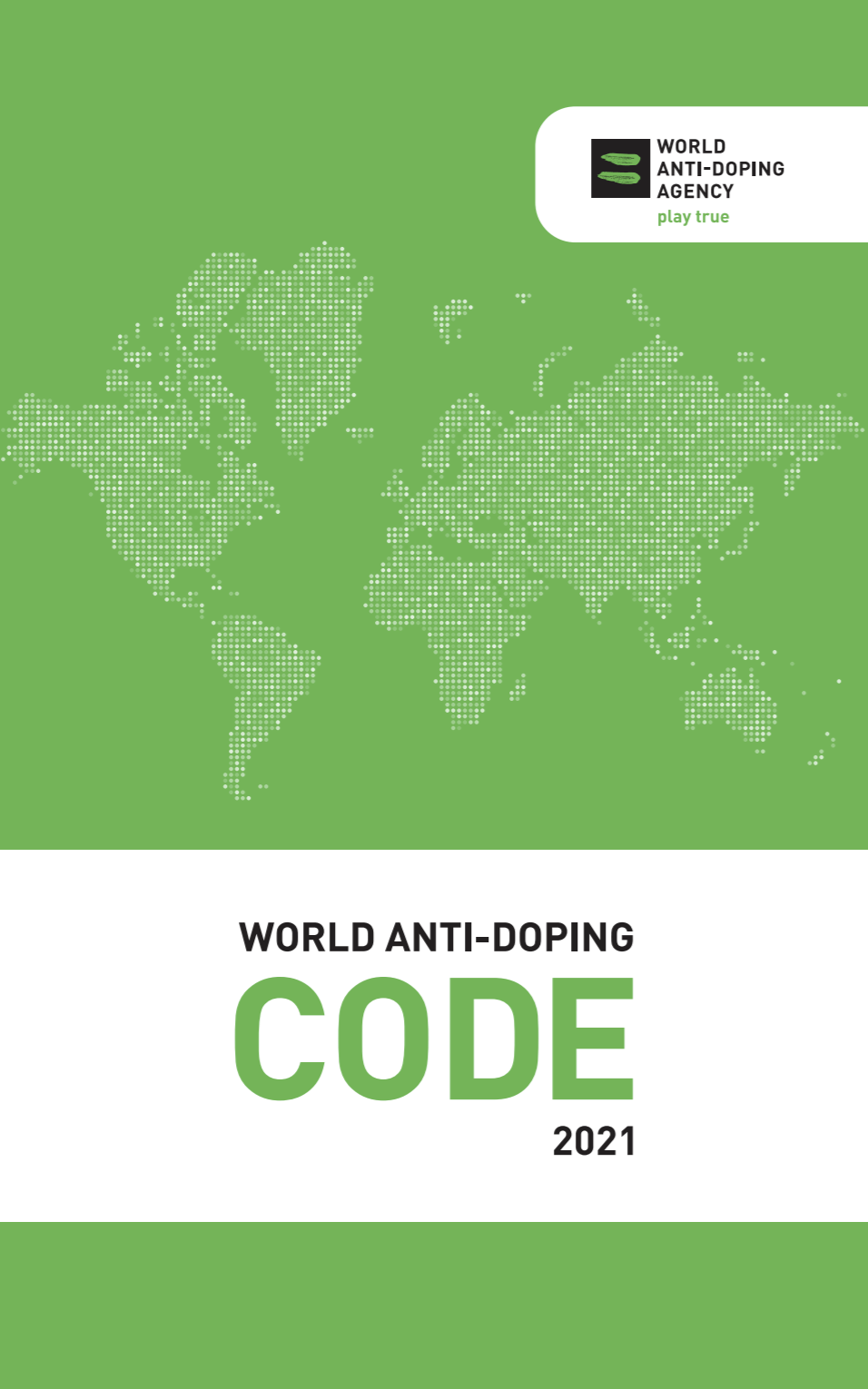 The cover of the 2021 World Anti-Doping Agency Code.