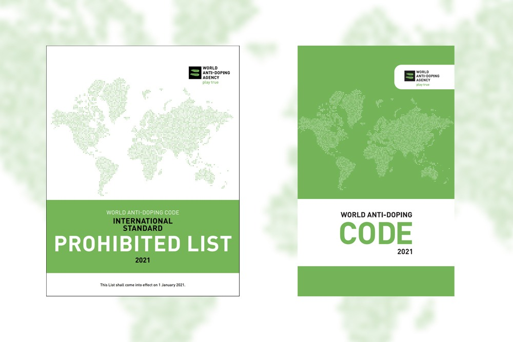 Covers of the WADA 2021 Prohibited List and 2021 Code.