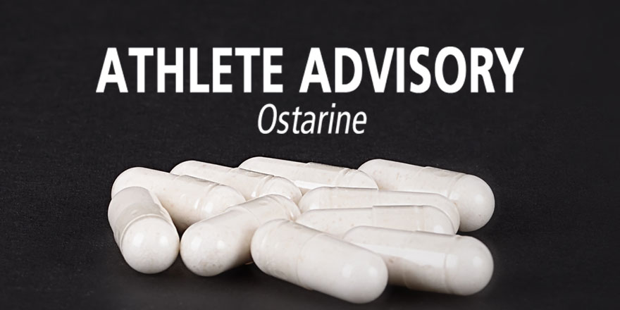 black background with white font displaying Athlete Advisory Ostarine