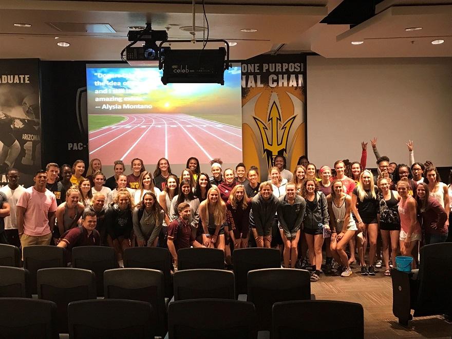 Arizona State University athletes at anti-doping presentation
