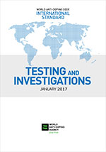Cover of WADA International Standard for testing and investigations showing a blue flat map