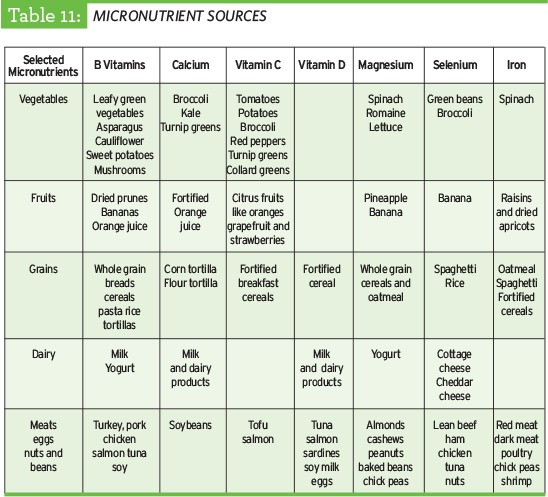 Micronutrient sources table