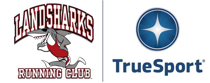 landsharks running club and True Sport logos