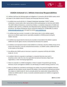 cover image of 2020 USADA-Initiated U.S. Athlete Interview Responsibilities