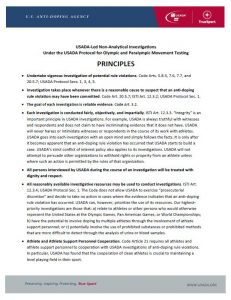cover image of the 2020 USADA-Led Non-Analytical Investigations Principles