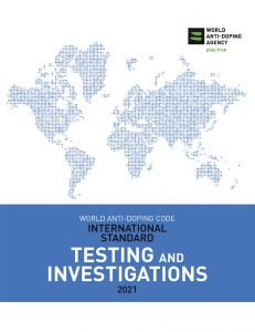 Cover image of the WADA International Standard for Testing and Investigations 2021.