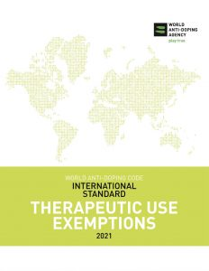 Cover image of the WADA International Standard for Therapeutic Use Exemptions 2021.