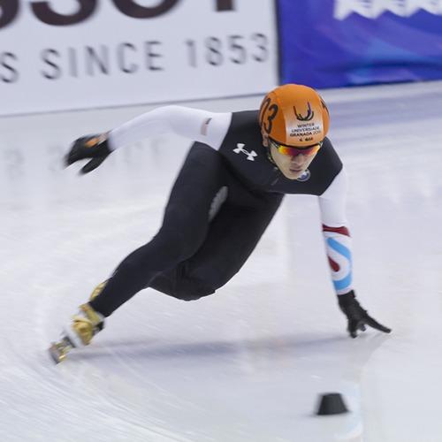 Aaron Tran during a short track speedskating competition.