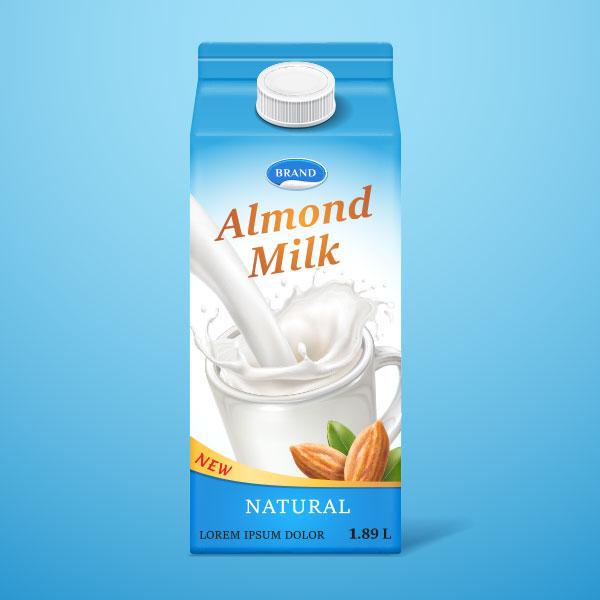 carton of generic almond milk