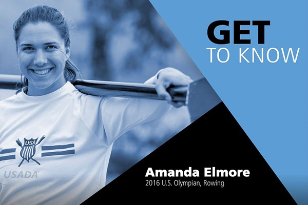 Get to Know Amanda Elmore, image of amanda holding rowing oar