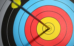 arrow in the middle of an archery target