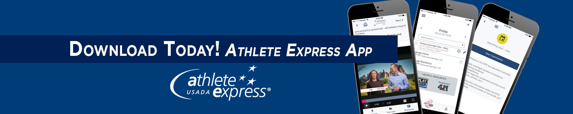 smart phones displaying the Athlete express app on blue background
