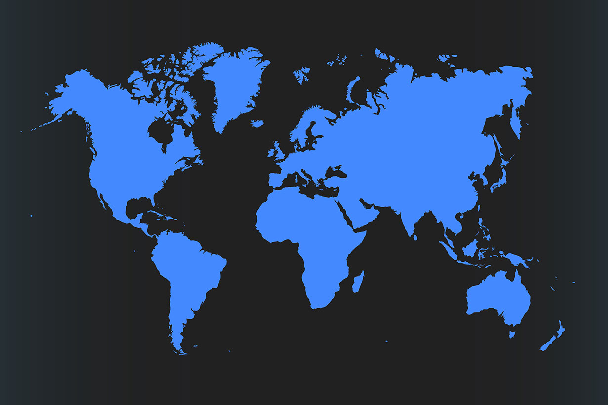 black and blue flat map of world