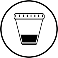 urine cup icon in black circle