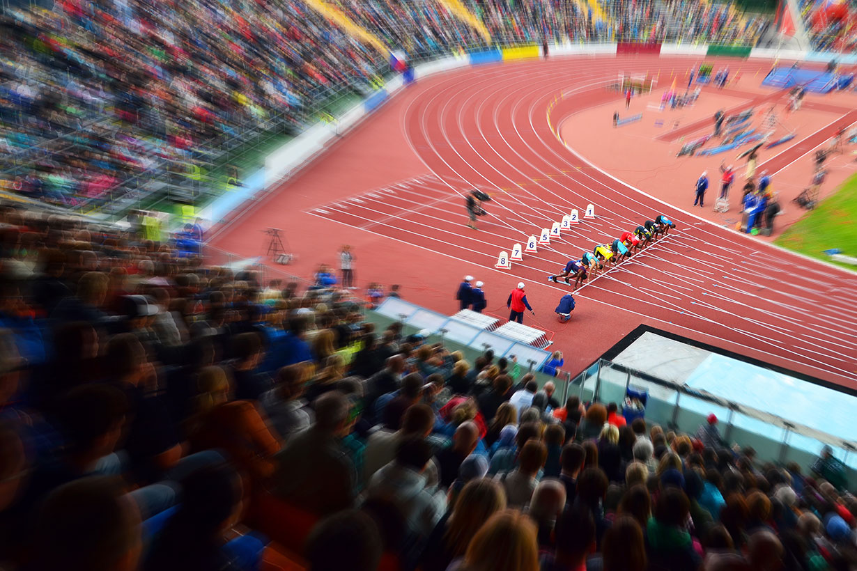 blurry track and field stadium
