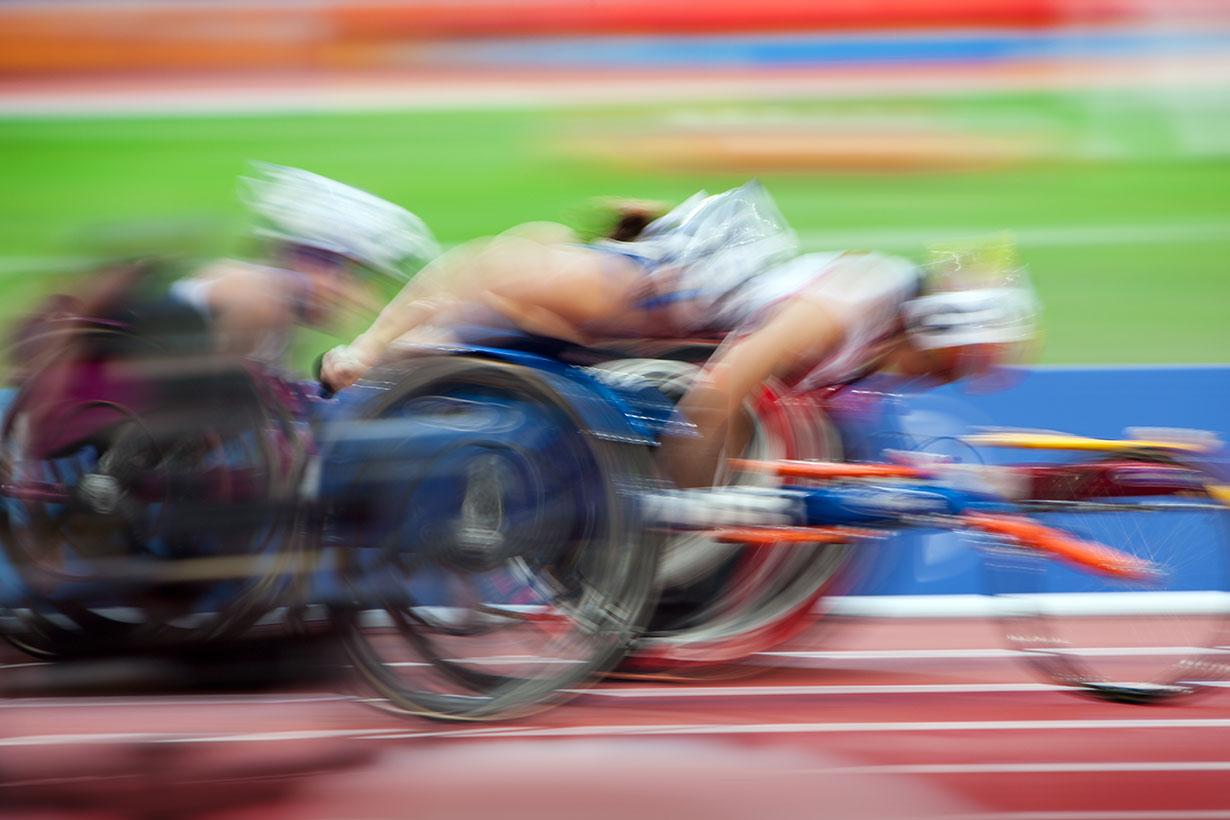 blurried wheelchair racing