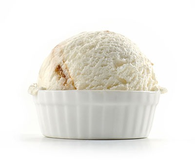 one scoop of vanilla ice cream in a small bowl