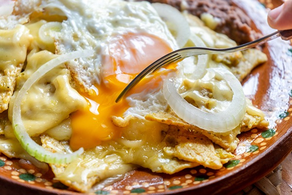Close up of chilaquiles.