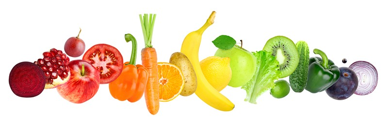 A colorful variety of frutis and vegetables.