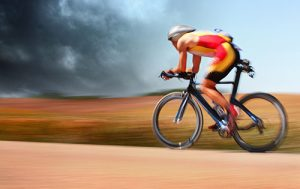 solo cycling athlete during a time trial