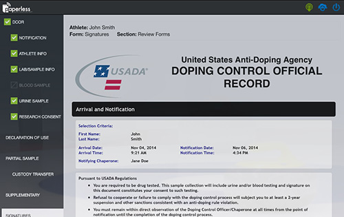 doping control official record document