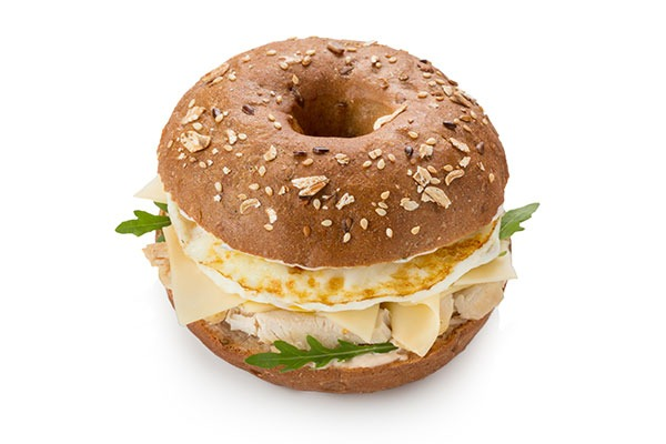 Egg white bagel sandwich.