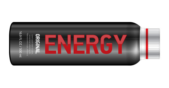black and red energy drink bottle