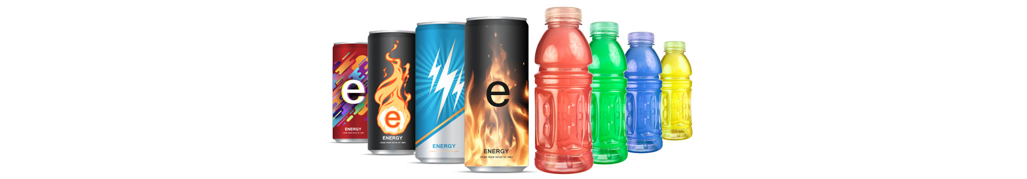 energy drink cans and sport drink bottles different colors