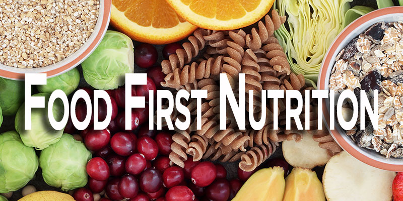 Food first nutrition with health food background