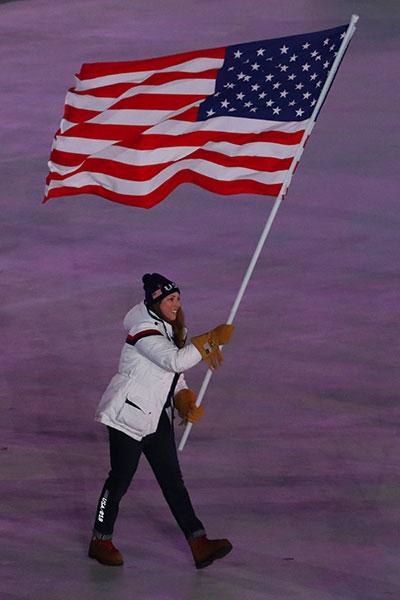 Erin Hamlin as Flag Bearer at the 2018 Winter Olympic Games