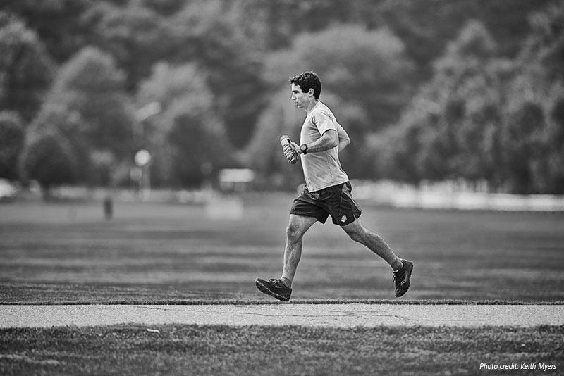 black and white photo of noah hoffman training.