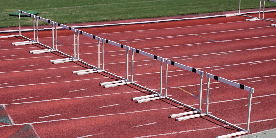 hurdles on open track