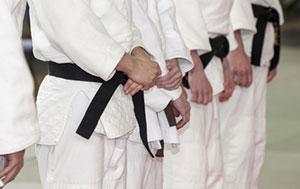 men in judo outfits with black belts standing in a row