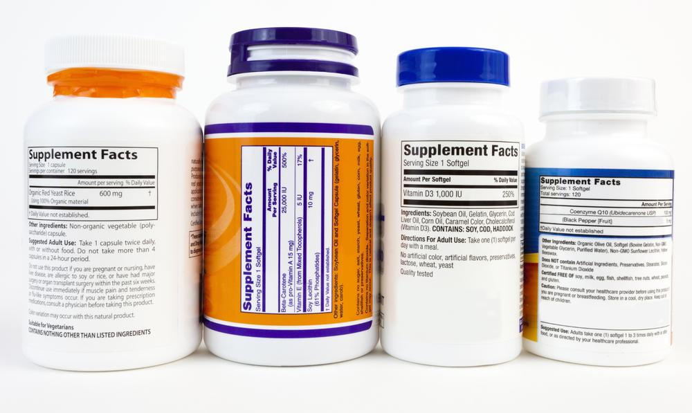 4 supplement bottles showing ingredient labels