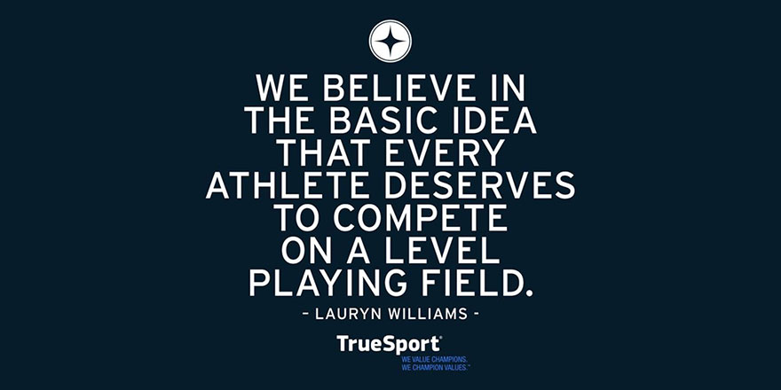 Quote by Lauryn Williams with True Sport logo on bottom of a blue background