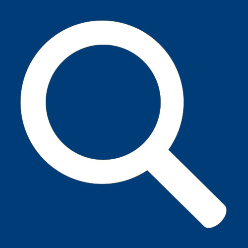 white magnifying glass on blue background square