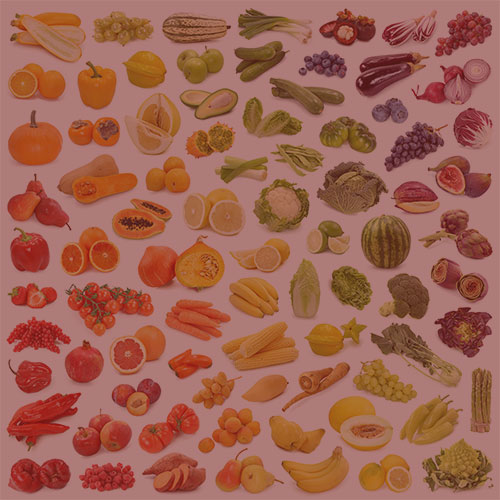 multiple fruits and vegetables with pink overlay