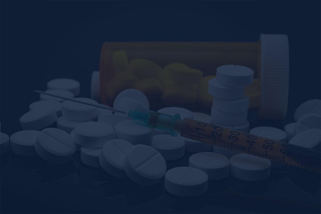 opioid paraphernalia under dark blue overlay
