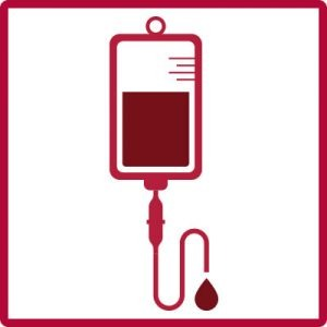 iv infusion icon with red liquid