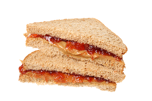 peanut butter and jelly sandwich on white background