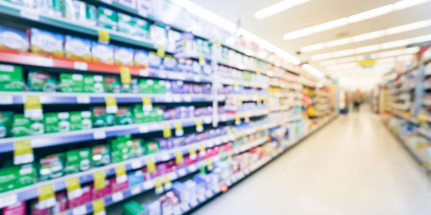 blurred pharmacy aisle