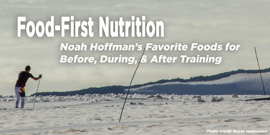 Noah Hoffman skiing in an open mountain area