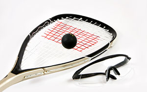 racquetball racquet and ball