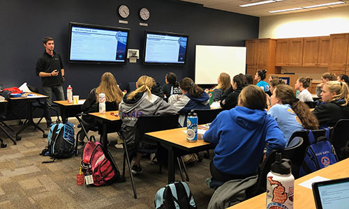 USADA staff member Scott Davern presenting education to athletes