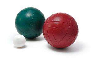 two boccia balls on a white background