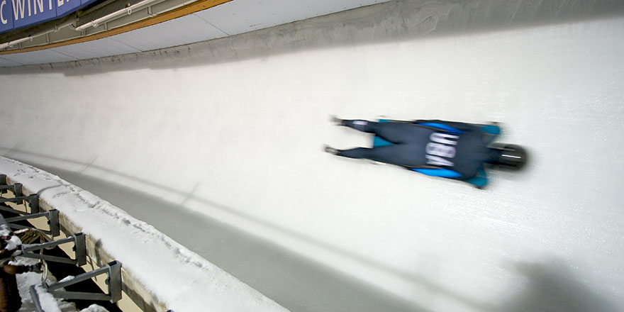 usa skeleton athlete going down skeleton track