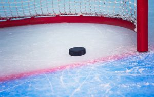 hockey puck in an empty net